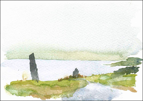 Loch Harray with standing stones